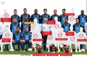"The French team, minus ""immigrants,"" according to the Global Post"